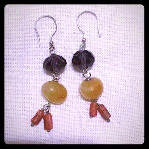 Earrings Handmade Sterling Silver Coral Agate